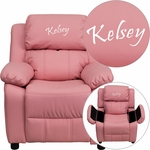 Personalized Deluxe Padded Pink Vinyl Kids Recliner with Storage Arms [BT-7985-KID-PINK-EMB-GG]