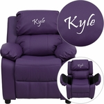 Personalized Deluxe Padded Purple Vinyl Kids Recliner with Storage Arms [BT-7985-KID-PUR-EMB-GG]