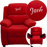 Personalized Deluxe Padded Red Microfiber Kids Recliner with Storage Arms [BT-7985-KID-MIC-RED-EMB-GG]