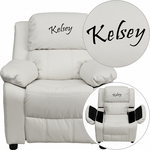 Personalized Deluxe Padded White Vinyl Kids Recliner with Storage Arms [BT-7985-KID-WHITE-EMB-GG]