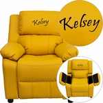 Personalized Deluxe Padded Yellow Vinyl Kids Recliner with Storage Arms [BT-7985-KID-YEL-EMB-GG]