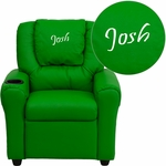 Personalized Green Vinyl Kids Recliner with Cup Holder and Headrest [DG-ULT-KID-GRN-EMB-GG]