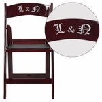 Personalized HERCULES Series 1000 lb. Capacity Red Mahogany Resin Folding Chair with Black Vinyl Padded Seat [LE-L-1-MAH-EMB-VYL-GG]