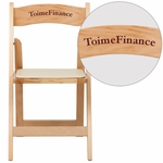 Personalized HERCULES Series Natural Wood Folding Chair with Vinyl Padded Seat [XF-2903-NAT-WOOD-EMB-VYL-GG]