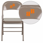Personalized HERCULES Series Triple Braced & Double Hinged Beige Metal Folding Chair [HF3-MC-309AS-BGE-EMB-VYL-GG]