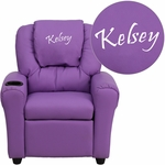 Personalized Lavender Vinyl Kids Recliner with Cup Holder and Headrest [DG-ULT-KID-LAV-EMB-GG]