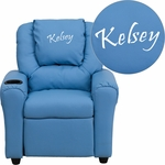 Personalized Light Blue Vinyl Kids Recliner with Cup Holder and Headrest [DG-ULT-KID-LTBLUE-EMB-GG]
