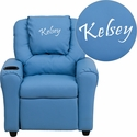 Personalized Light Blue Vinyl Kids Recliner with Cup Holder and Headrest