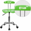 Personalized Vibrant Apple Green and Chrome Computer Task Chair with Tractor Seat