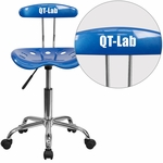 Personalized Vibrant Bright Blue and Chrome Task Chair with Tractor Seat [LF-214-BRIGHTBLUE-EMB-VYL-GG]