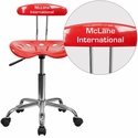 Personalized Vibrant Cherry Tomato and Chrome Computer Task Chair with Tractor Seat