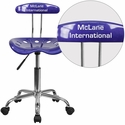 Personalized Vibrant Deep Blue and Chrome Computer Task Chair with Tractor Seat