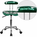 Personalized Vibrant Green and Chrome Task Chair with Tractor Seat