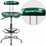 Personalized Vibrant Green and Chrome Drafting Stool with Tractor Seat [LF-215-GREEN-EMB-VYL-GG]