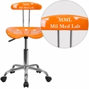 Personalized Vibrant Orange and Chrome Computer Task Chair with Tractor Seat