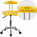 Personalized Vibrant Orange-Yellow and Chrome Computer Task Chair with Tractor Seat