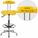 Personalized Vibrant Orange-Yellow and Chrome Drafting Stool with Tractor Seat [LF-215-YELLOW-EMB-VYL-GG]