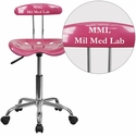 Personalized Vibrant Pink and Chrome Task Chair with Tractor Seat