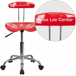 Personalized Vibrant Red and Chrome Task Chair with Tractor Seat [LF-214-RED-EMB-VYL-GG]
