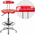 Personalized Vibrant Red and Chrome Drafting Stool with Tractor Seat [LF-215-RED-EMB-VYL-GG]