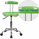 Personalized Vibrant Spicy Lime and Chrome Task Chair with Tractor Seat