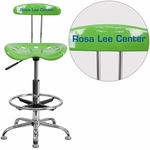 Personalized Vibrant Spicy Lime and Chrome Drafting Stool with Tractor Seat [LF-215-SPICYLIME-EMB-VYL-GG]