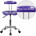 Personalized Vibrant Violet and Chrome Computer Task Chair with Tractor Seat