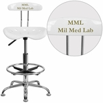 Personalized Vibrant White and Chrome Drafting Stool with Tractor Seat [LF-215-WHITE-EMB-VYL-GG]