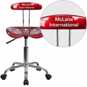 Personalized Vibrant Wine Red and Chrome Task Chair with Tractor Seat