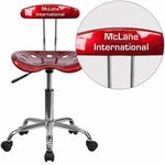 Personalized Vibrant Wine Red and Chrome Task Chair with Tractor Seat [LF-214-WINERED-EMB-VYL-GG]