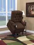 Two Way Petite Reclining Power Lift Chair with Matching Arm and Headrest Covers - Aaron Cocoa Fabric [1555P-AAC-FS-MEDL]