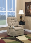 Two Way Petite Reclining Power Lift Chair with Matching Arm and Headrest Covers - Aaron Light Brown Fabric [1555P-AALB-FS-MEDL]