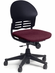 Ph.D. Series Armless Task Chair with Pacifica Wineberry Upholstered Seat and Black Plastic [2635P-RED213-VCO]