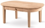 Philips Solid Parawood 24''W X 18''H Oval Coffee Table with Drawer - Unfinished [OT-5C-FS-WHT]