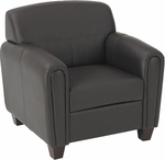 OSP Furniture Pillar Faux Leather Club Chair with Cherry Finish Legs - Espresso [SL2571U1-FS-OS]