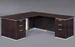 Pimlico Flat Pack 72'' W Right Executive L Desk with White Modesty Panel - Mocha [7020-47WGFP-FS-DMI]