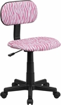 Pink and White Zebra Print Swivel Task Chair [BT-Z-PK-GG]