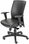 Pinnacle High Back Adjustable Leather Conference Chair - Jet [CEL-7120-B-TA-JET-FS-CPL]