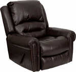Plush Brown Leather Lever Rocker Recliner with Brass Accent Nails [MEN-DSC01056-BRN-GG]