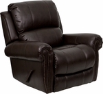 Plush Brown Leather Lever Rocker Recliner with Brass Accent Nails [MEN-DSC01072-BRN-GG]