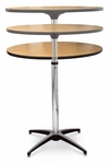 24'' Diameter Round Plywood Pedestal Table with Telescopic Column and Aluminum X-Base [72018-MCC]