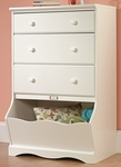 Pogo 30''W x 47''H 3 Drawer Wooden Chest with Storage Bin and Solid Wood Knobs - Soft White [414434-FS-SRTA]