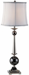Skyline Polished Black Chrome Ball 35''H Table Lamp with Cream Silk Lamp Shade [09T523-FS-PAS]