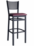 Polk Metal Perforated Back Barstool - Black Vinyl Seat [2161BBLV-SB-BFMS]