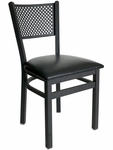 Polk Metal Perforated Back Chair - Black Vinyl Seat [2161CBLV-SB-BFMS]