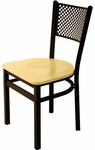 Polk Metal Perforated Back Chair - Black Wood Seat [2161CBLW-SB-BFMS]