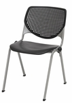 2300 KOOL Series Stacking Poly Armless Chair with Perforated Back and Silver Frame - Black [2300-P10-IFK]