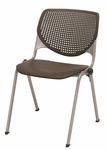 Poly Stack Brownstone Chair with Perforated Back and Silver Frame [2300-P18-IFK]