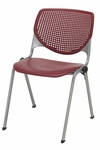 2300 KOOL Series Stacking Poly Armless Chair with Perforated Back and Silver Frame - Burgundy [2300-P07-IFK]