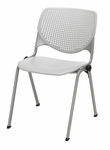 Poly Stack Light Grey Chair with Perforated Back and Silver Frame [2300-P13-IFK]